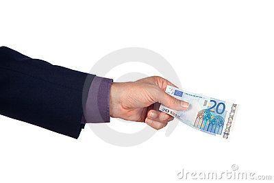 Hand with twenty euro banknote