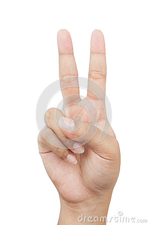 Hand with two fingers up