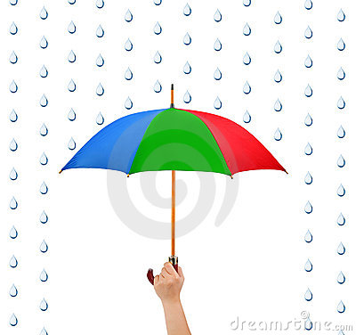 Hand with umbrella and rain