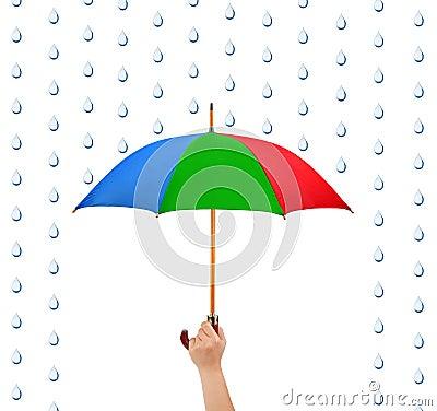 Hand with umbrella and rain