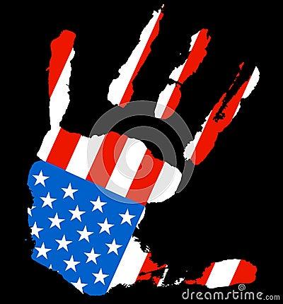 Hand USA flag