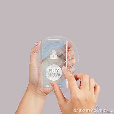 Hand use Touch screen mobile phone