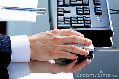 Hand using a mouse