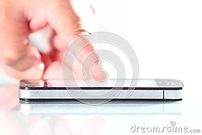 Hand using phone