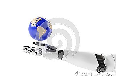 Hand van een robot met aarde