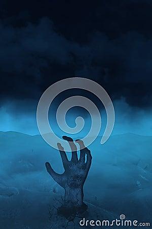 Hand van undead op blauw