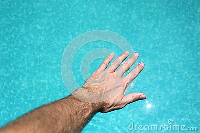 Hand on water
