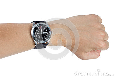 A hand wearing a black wrist watch