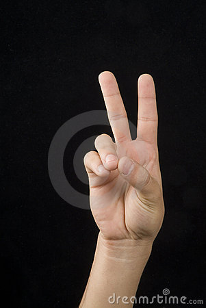 Hand whit victory signal