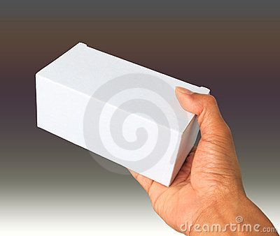 Hand and white box give gift