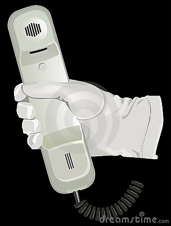 The hand white glove hold telephone
