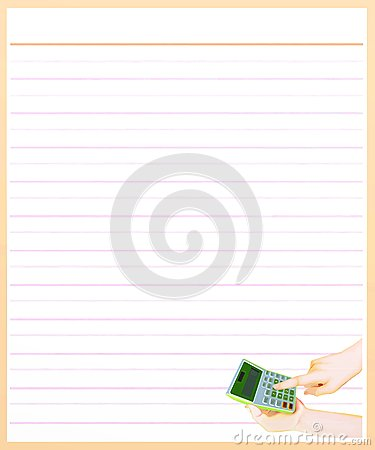 Free Hand With A Calculator On Brown Color Lined Paper Stock Photography - 28745452