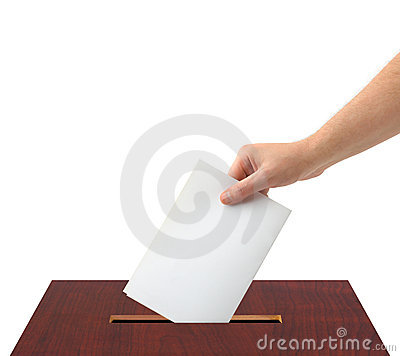 Free Hand With Ballot And Box Stock Photography - 9889232