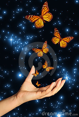 Free Hand With Butterflies Royalty Free Stock Images - 8935839