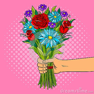 Free Hand With Flowers Pop Art Vector Illustration Royalty Free Stock Images - 103790989