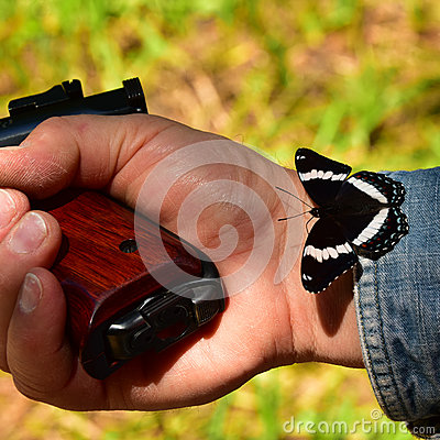 Free Hand With Gun And Butterfly Stock Photo - 59239230