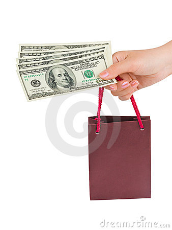 Free Hand With Money Shopping Bag Stock Image - 16953871