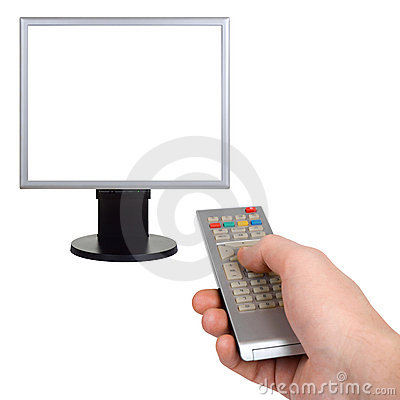 Free Hand With Remote Control And Tv Royalty Free Stock Photos - 8402218