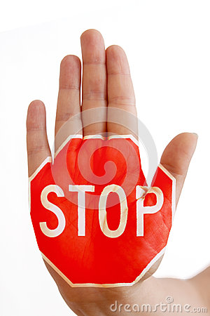 Free Hand With Stop Sign Royalty Free Stock Image - 25995856