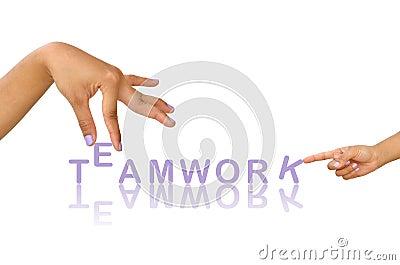 Hand and word Teamwork