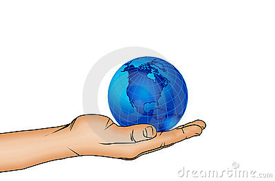Hand and world globe 3