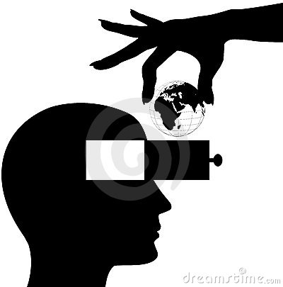 Hand world into male head open mind drawer