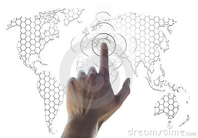 Hand and world map