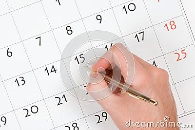 Hand write into calendar