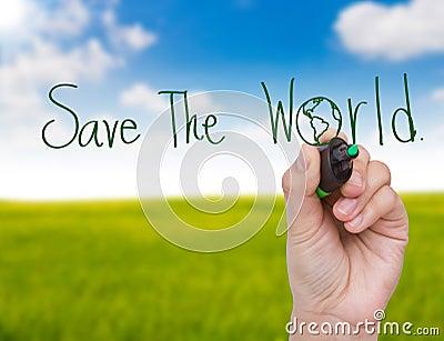 Hand write Save the world