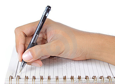 Hand writing on abook
