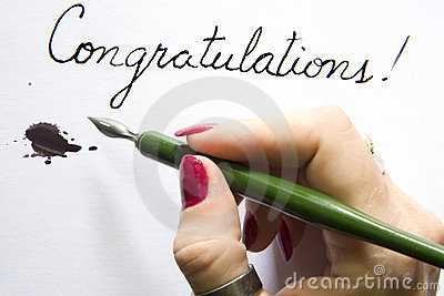 Hand writing congratulations