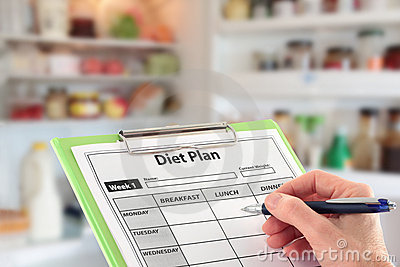 Hand Writing a Diet Plan in front of a Fridge