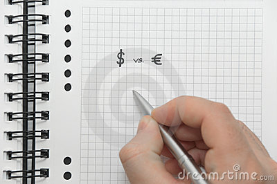 Hand writing dollar and euro symbols