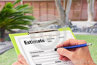 Hand Writing an Estimate for Garden Maintenance