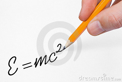 Hand writing formula on paper