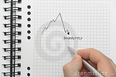 Hand writing graph pointing to bankruptcy