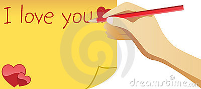 Hand writing I love you note for