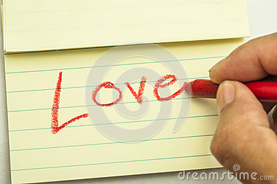 Hand writing love note