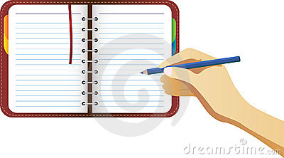 Hand Writing on organizer