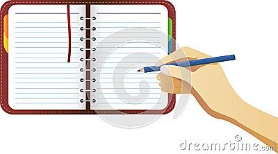 Hand Writing on organizer