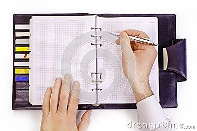 Hand writing on a organizer