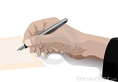 Hand writing with pen in retro style