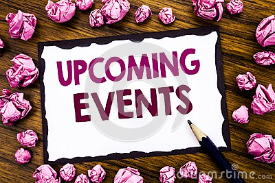Hand writing text caption inspiration showing Upcoming Events. Business concept for Appointment Agenda List Written on sticky note Stock Photo