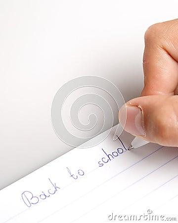 The hand writing to writing-books.