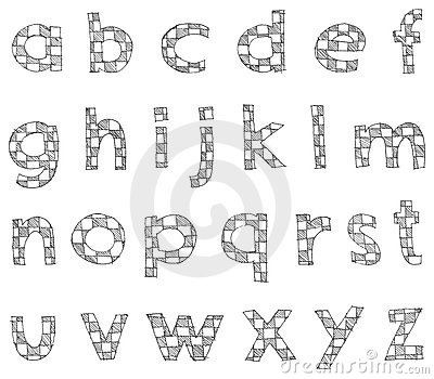 Hand written checkered lower case alphabet