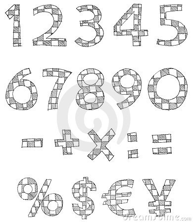 Hand written checkered numbers