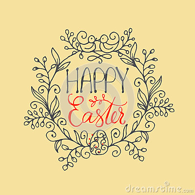Free Hand Written Lettering Happy Easter Wreath With Two Birds And Egg. Greeting Card Text Template Stock Photography - 85467352