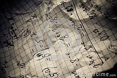 Hand written mathematical formulas