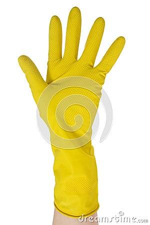 Hand in yellow glove