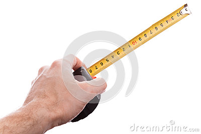 Hand with yellow tape measure